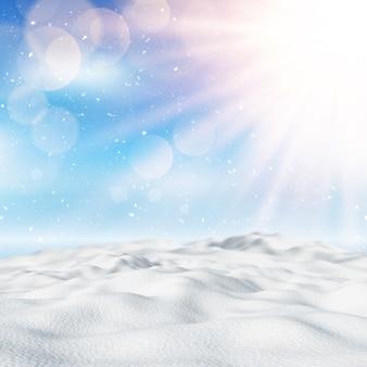 3d śnieżny zimowy krajobraz
