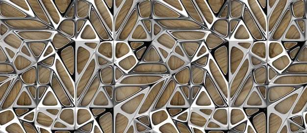 3d srebrne kratowe płytki na tle dębowego drewna