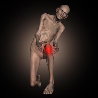 3d stary chudy mężczyzna trzyma kolano w bólu