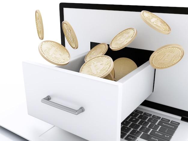3d stos bitcoin złotych monet na klawiaturze komputera