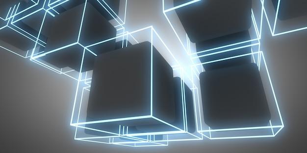 3d streszczenie kostki tło z neonów