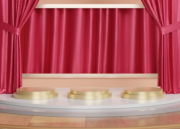 3d streszczenie minimalne formy geometryczne. błyszczące luksusowe podium dla twojego projektu. pokaz mody lub cokół z tłem kurtyny.