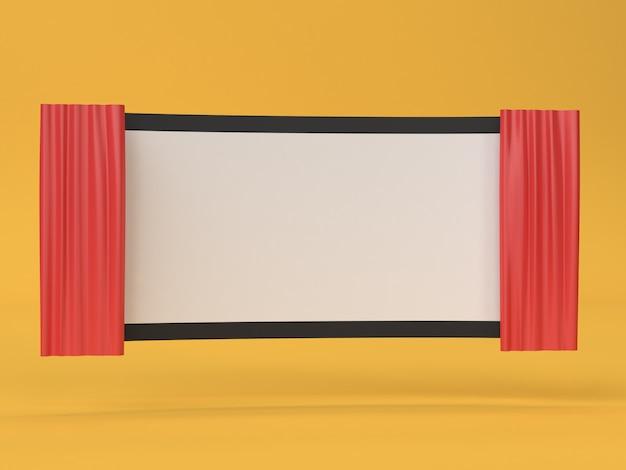 3d streszczenie pusty ekran kinowy film, kino, koncepcja rozrywki
