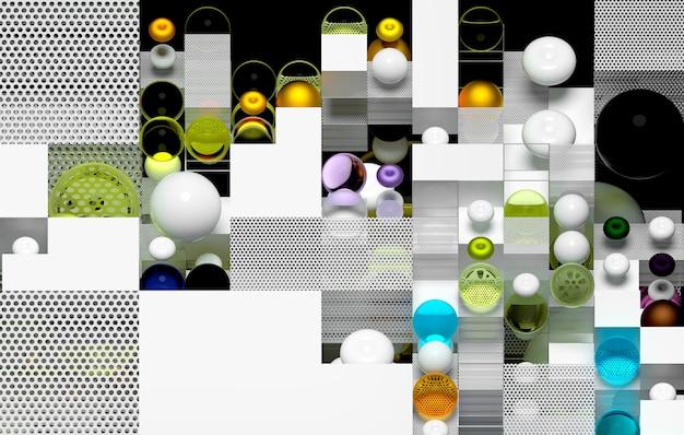 3d streszczenie sztuka 3d tło z plastikowymi białymi kostkami i szklanymi kulkami w kolorze niebieskim i zielonym