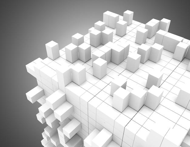 3d streszczenie tło geometryczne z kostkami. ilustracja 3d