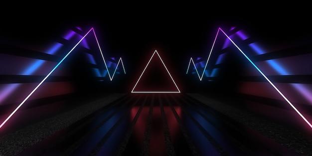 3d streszczenie tło z neonami. budowa tunelu neonowego. .3d ilustracja