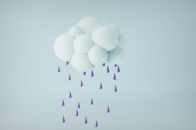 3d świadczonych chmura z fioletowymi kroplami wody