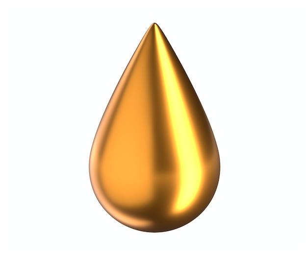 3d świadczonych ilustracja kropli złota na białym tle. wysokiej jakości ilustracja 3d