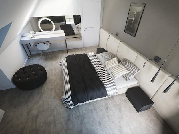 3d świadczonych nowocześnie urządzoną sypialnię