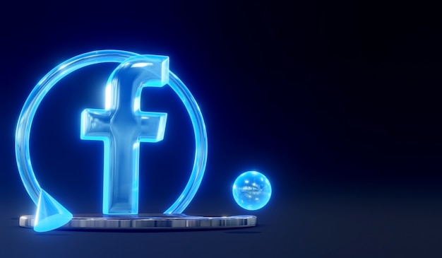 3d świecące szkło facebook social media logo na podium z ciemnym tłem