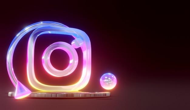 3d świecące szkło instagram social media logo na podium z ciemnym tłem