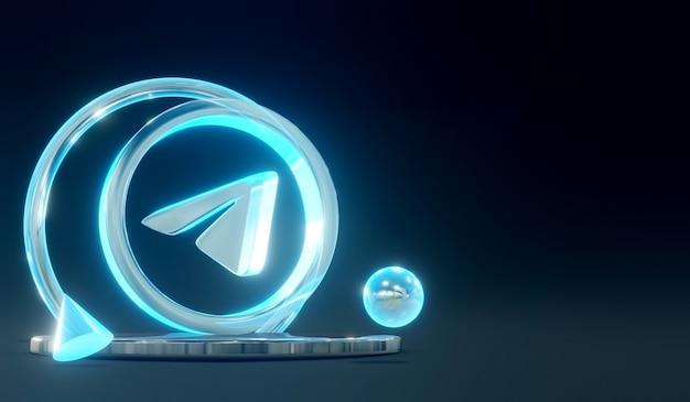 3d świecące szkło telegram logo mediów społecznościowych na podium z ciemnym tłem