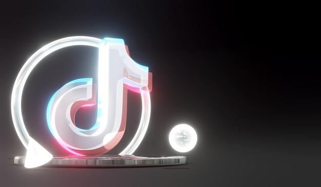 3d świecące szkło tiktok social media logo na podium z ciemnym tłem