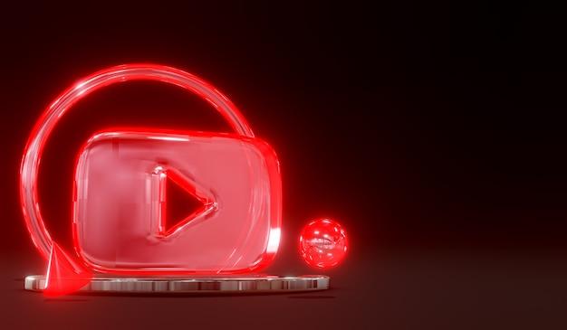 3d świecące szkło youtube logo mediów społecznościowych na podium z ciemnym tłem