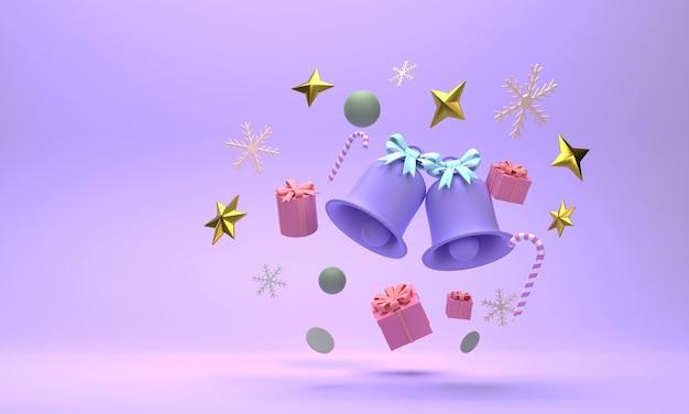 3d. święta bożego narodzenia składające się z dzwonków, pudełek na prezenty, płatków śniegu na jasnoniebieskim tle.
