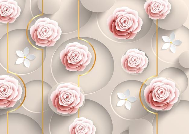 3d szara tapeta sztuka ścienna róża i białe kwiaty ilustracji