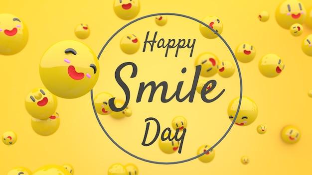3d szczęśliwy dzień uśmiechu twarze z tekstem