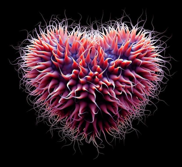 3d sztuka abstrakcyjny wirus, bakterie lub organiczne serce