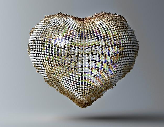 3d sztuka z abstrakcjonistycznym metalu złotem i szklanym sercem