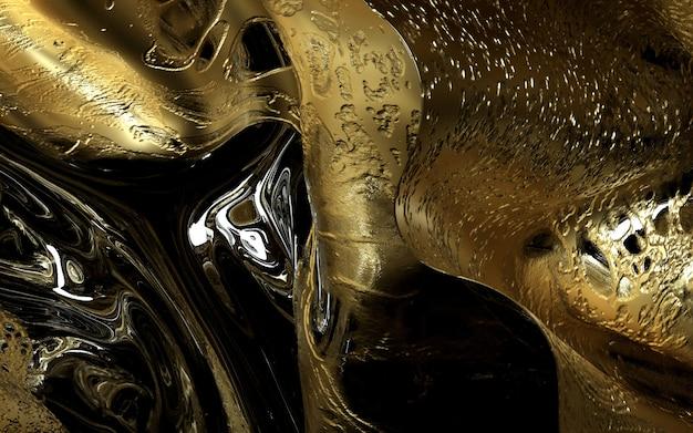 3d sztuki abstrakcjonistyczny organicznie tło z złotem