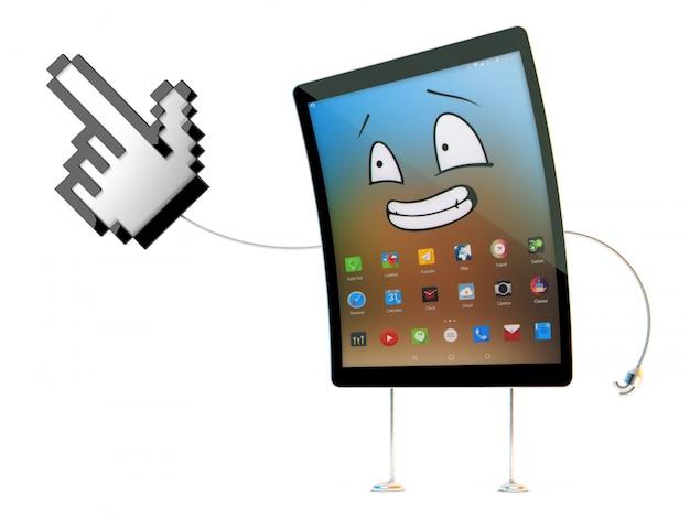 3d tablet charakter wskazujący na niewidzialny obiekt. odosobniony. zawiera ścieżkę przycinającą