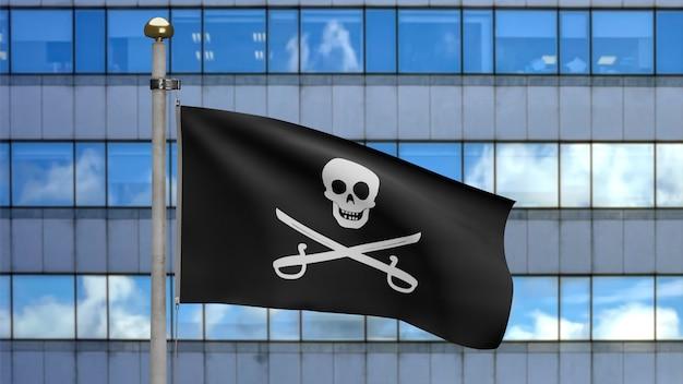 3d, tekstura tkaniny czaszki pirata z flagą z szablami powiewającą na wietrze. calico jack pirat symbol koncepcji hakera i złodzieja. realistyczna flaga piratów czarna na falistej powierzchni