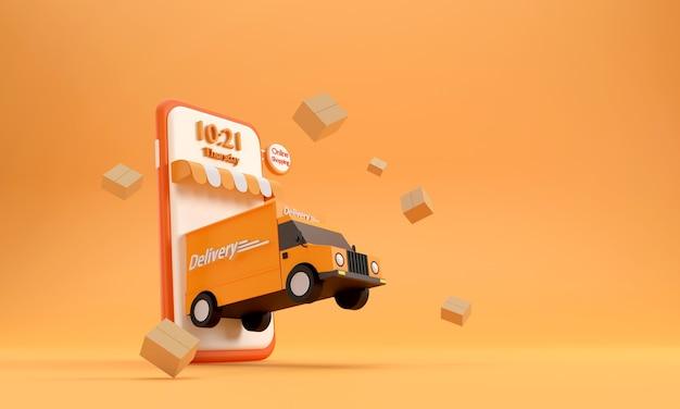 3d. telefon komórkowy ciężarówka dostawcza zakupy online usługa szybkiej dostawy