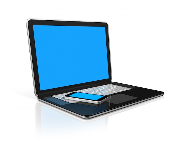 3d telefon komórkowy na laptopie, odizolowane na białym z 2 ścieżki przycinającej: jeden na scenie globalnej i jeden na ekranie