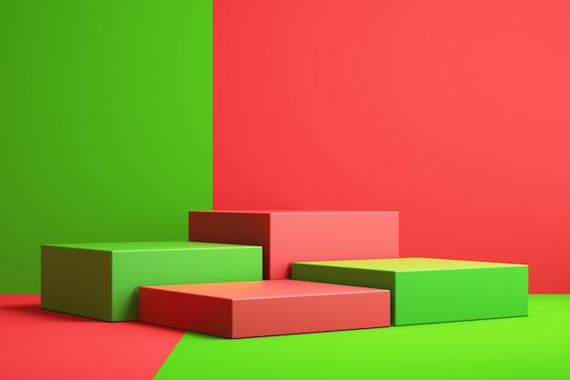 3d tło do makiety podium do prezentacji produktu, czerwone i zielone tło, renderowanie 3d