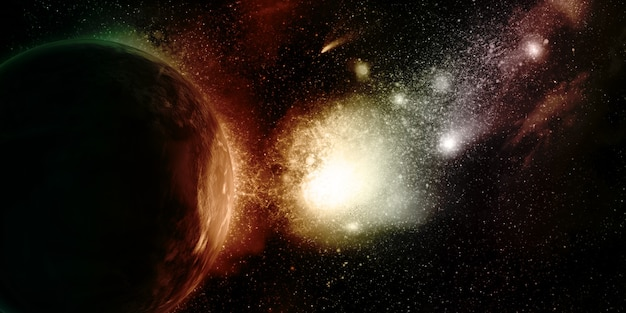 3d tło kosmiczne z fikcyjnymi planetami i mgławicą