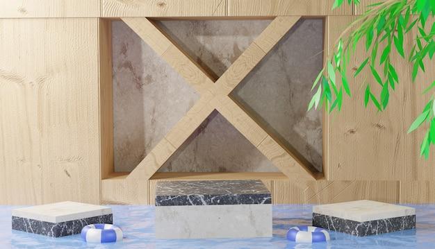 3d tło przedstawiające marmurową kostkę podium z liśćmi pośrodku czystej wody