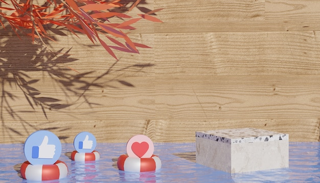 3d tło z marmurowym podium i symbolami mediów społecznościowych na oponie pływającej