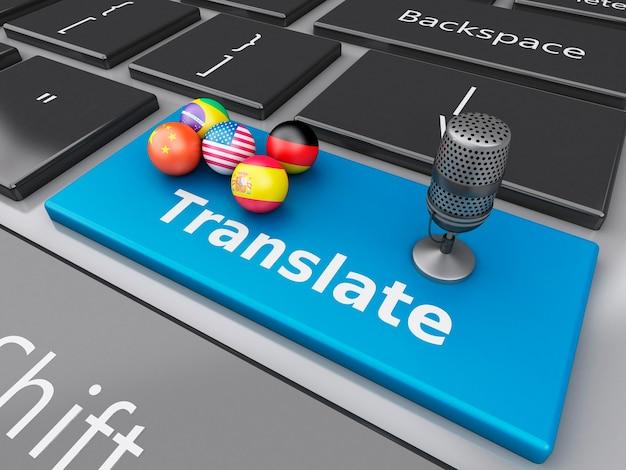 3d tłumaczenie języków obcych na klawiaturze komputera