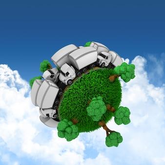 3d trawiasta kula ziemska z ciężarówkami i drzewami