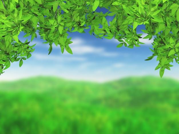3d trawiasty krajobraz z zielonymi liśćmi
