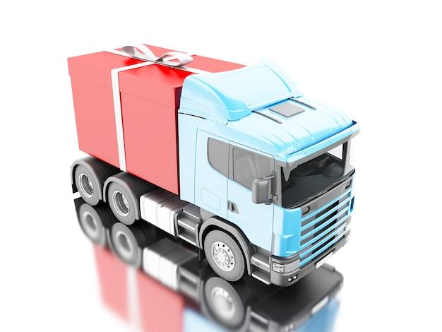 3d truck dostarczanie pudełko z wstążką