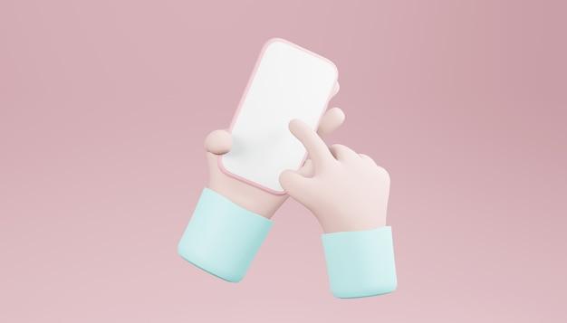 3d trzymanie za rękę, smartfon minimalne tło, ręka za pomocą makiety telefonu komórkowego. renderowanie 3d