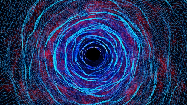 3d tunel z siatką cyfrową, technologia cybernetyczna.