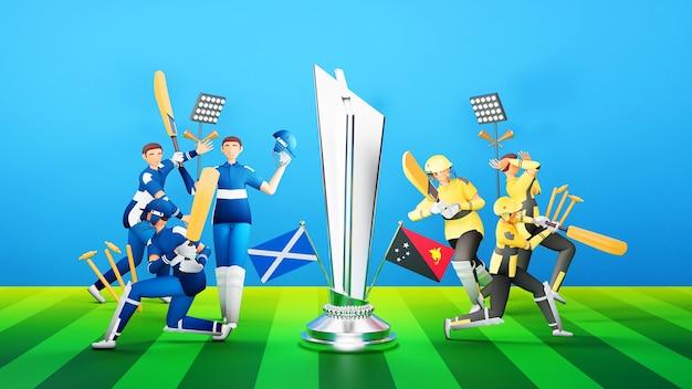 3d uczestniczących graczy drużyny krykieta szkocji vs papua nowa gwinea ze srebrnym zwycięskim trofeum na zielonym i niebieskim tle.