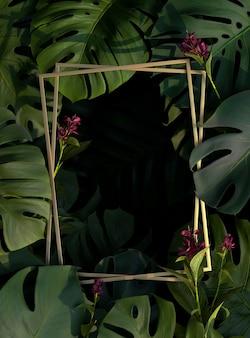 3d układ zielonych liści palmowych