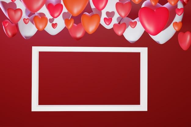 3d ul. walentynki kartkę z życzeniami z kolorowymi sercami wolumetrycznymi i białą pustą ramką