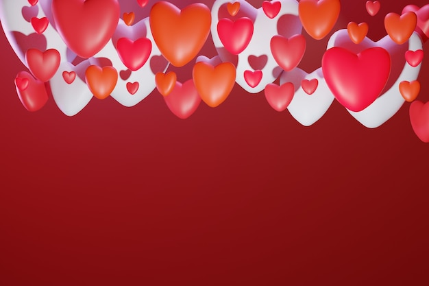 3d ul. walentynki kartkę z życzeniami z kolorowymi sercami wolumetrycznymi