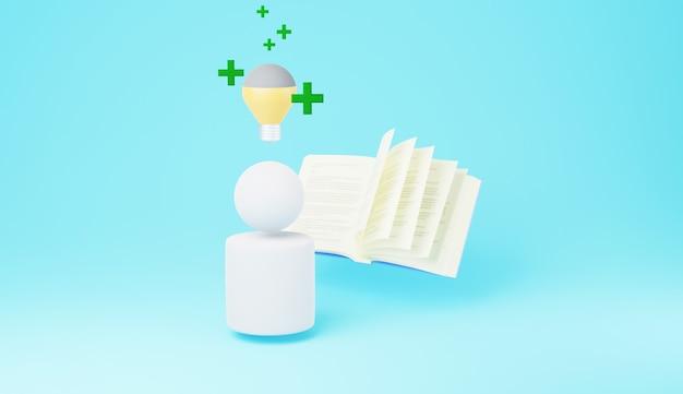 3d użytkownika za pomocą książki z żarówką na głowie