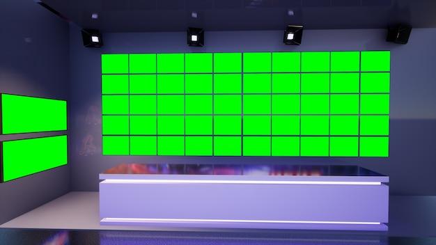 3d virtual tv studio news z zielonym ekranem, ilustracja 3d