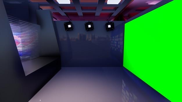 3d virtual tv studio news z zielonym ekranem