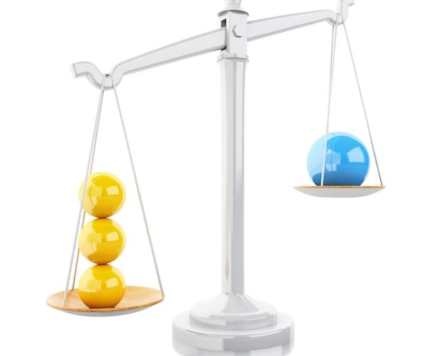 3d wagi równowagi z białymi kulkami.