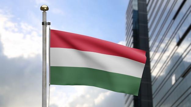 3d, węgierska flaga macha na wietrze z nowoczesnym wieżowcem miasta. węgry transparent dmuchanie gładkiego jedwabiu. tkanina tkanina tekstura tło chorąży. użyj go do koncepcji świąt narodowych i okazji krajowych.