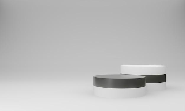 3d white czarno-białe podium
