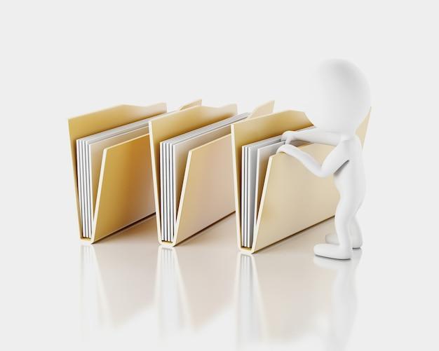 3d white ludzie bada foldery.