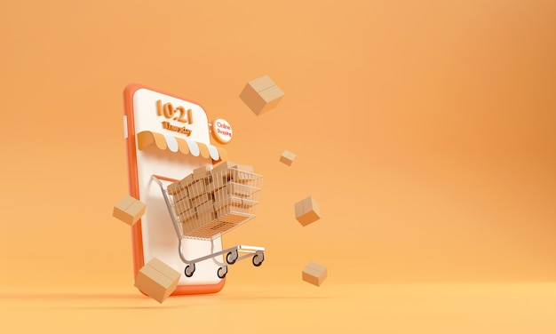 3d. wózek w supermarkecie telefon komórkowy zakupy online usługa szybkiej dostawy